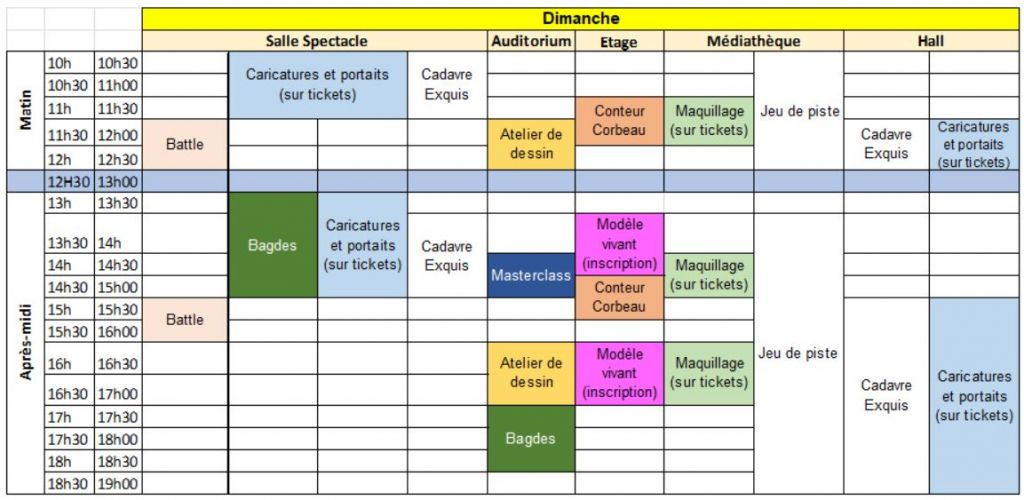 planning animations dimanche