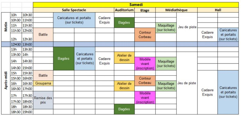 Planning animations samedi